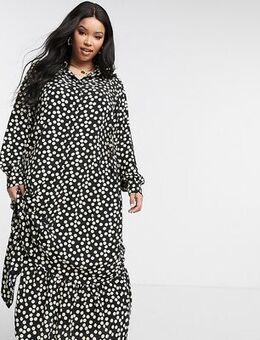 Smock shirt dress in spot print-Black