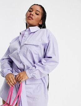 Tie waist cargo shirt dress lilac-Purple