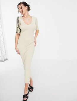 Lara short sleeve knit midi dress in beige-Neutral