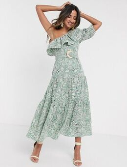 One shoulder broderie ruffle maxi dress with raffia belt in sage green