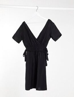 Linen mini dress with tie sides in black-Multi