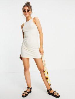 Bodycon mini dress in cream-White