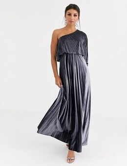 One shoulder pleated crop top maxi dress in velvet-Silver