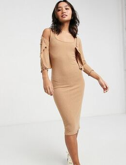 Ribbed dress and cardi set in camel-Brown