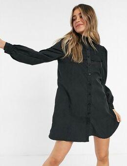 Smock dress with volume sleeves-Black