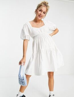 Shirred mini dress with puff sleeve in white