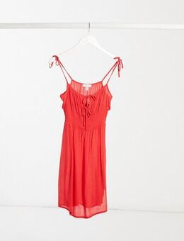 Ruche front mini dress in red