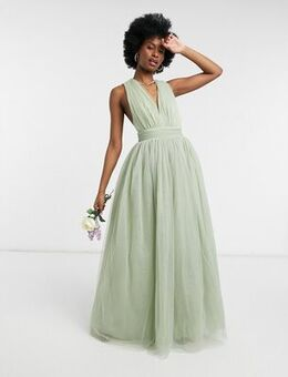 Tulle plunge maxi dress dress with bow back detail in sage-Blue