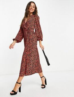 Midi wrap dress in red rose floral