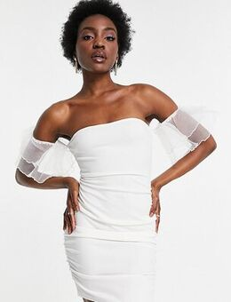 Off shoulder organza sleeve mini dress in white