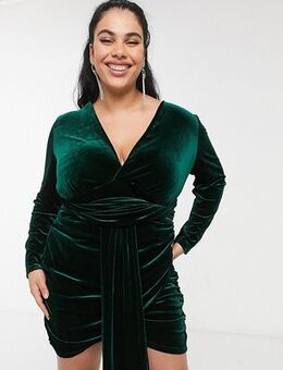 Exclusive velvet tie front ruched mini dress in emerald green