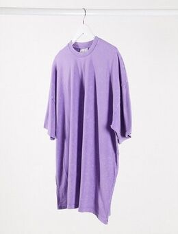 Oversized mini t-shirt dress in acid wash lilac-Purple