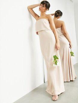 Satin bandeau maxi dress in caramel-Neutral