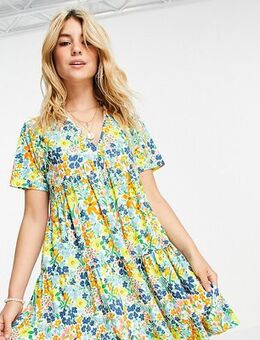 Mini smock dress with tiered skirt in summer floral-White