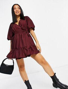 ASOS DESIGN Petite wrap cotton mini dress in oxblood-Red