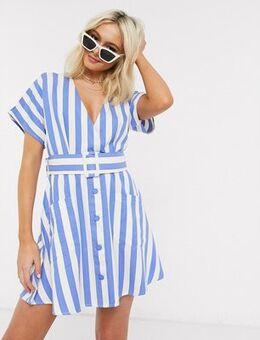 Belted mini dress in blue stripe-Multi
