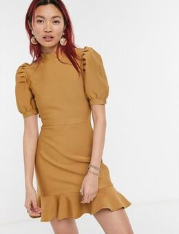 Knitted mini skater dress with balloon sleeves-Brown