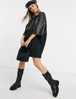 Oversized t-shirt dress with half leather look in black