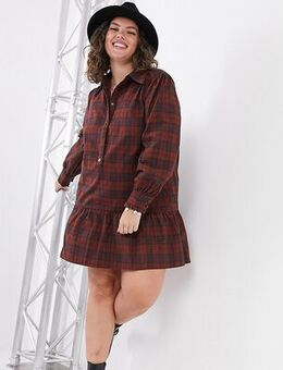 Shirt dress in check print-Multi