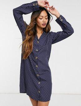 Polka dot shirt dress-Navy