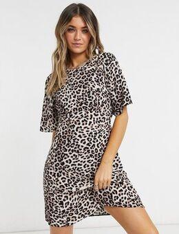 Cali open back mini tea dress in animal print-Multi