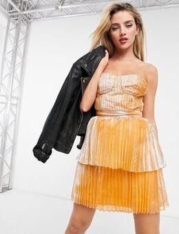 Corset tiered mini dress in gold