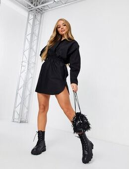 Plunge shirt dress with ruched detail in black