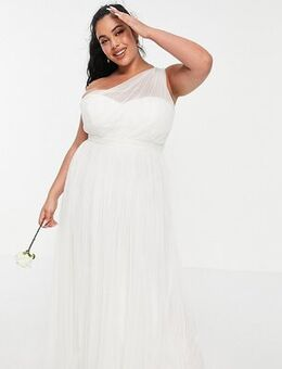 Anaya With Love Plus tulle one shoulder maxi dress in white