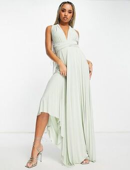 Maxi dress with pleated skirt pistachio-Green