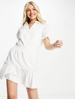 Textured mini dress in off white