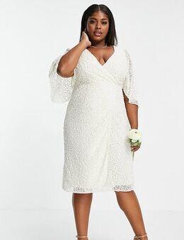 Delicate sequin wrap midi pencil dress in ecru-White