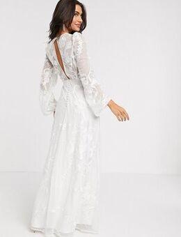 Embroidered wedding dress blouson sleeve-White