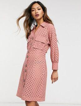 Broderie button through dress-Pink