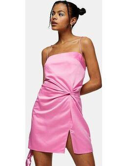 Satin mini dress with knot detail in pink