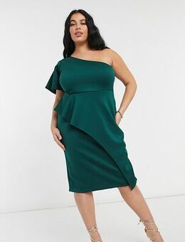 One shoulder midi dress in emerald-Green
