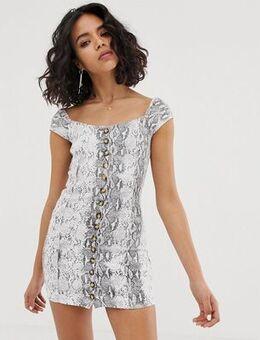 Snakeprint square neck mini dress-Grey