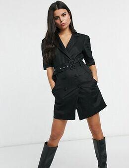 Tuxe mini dress with belt in black