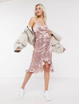 Satin midi dress in blush floral-Pink