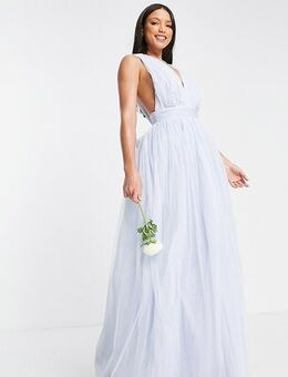ASOS DESIGN Tall tulle plunge maxi dress dress with bow back detail in powder blue