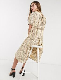 Midi smock dress with volume tiers in abstract squiggle print-Beige