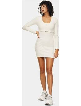 Ribbed cardigan dress in white