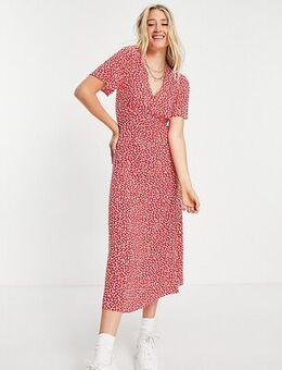 Flutter sleeve drop hem midi dress in pink pattern