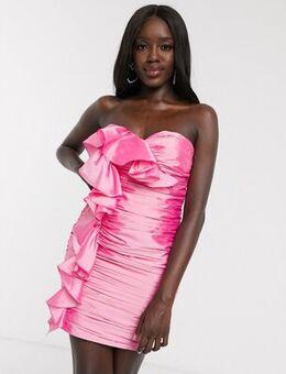 Extreme ruffle micro mini dress in pink