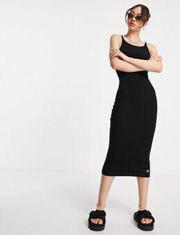 Slim fit rib midi dress in black