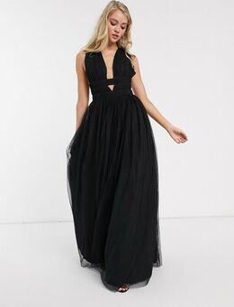 Plunge tiered Grecian tulle maxi dress in black