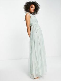 With Love off the shoulder ruffle sleeve maxi dress in misty green tulle-White