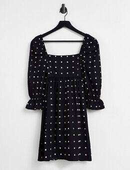 Smock dress in black polka dot-Multi