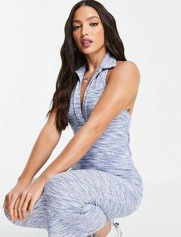 ASOS DESIGN Tall collared halter midi dress in blue spacedye
