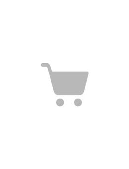 Denim dress with peplum and high neck in blue