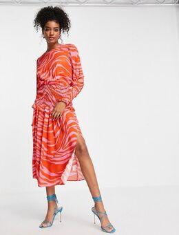 Shirred waist midi tea dress in red and pink zebra